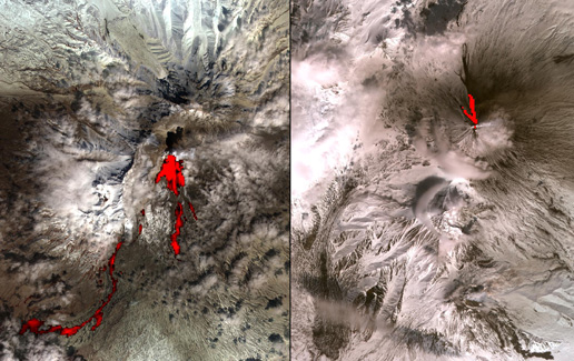 Simulcast Volcanic Eruptions in Kamchatka